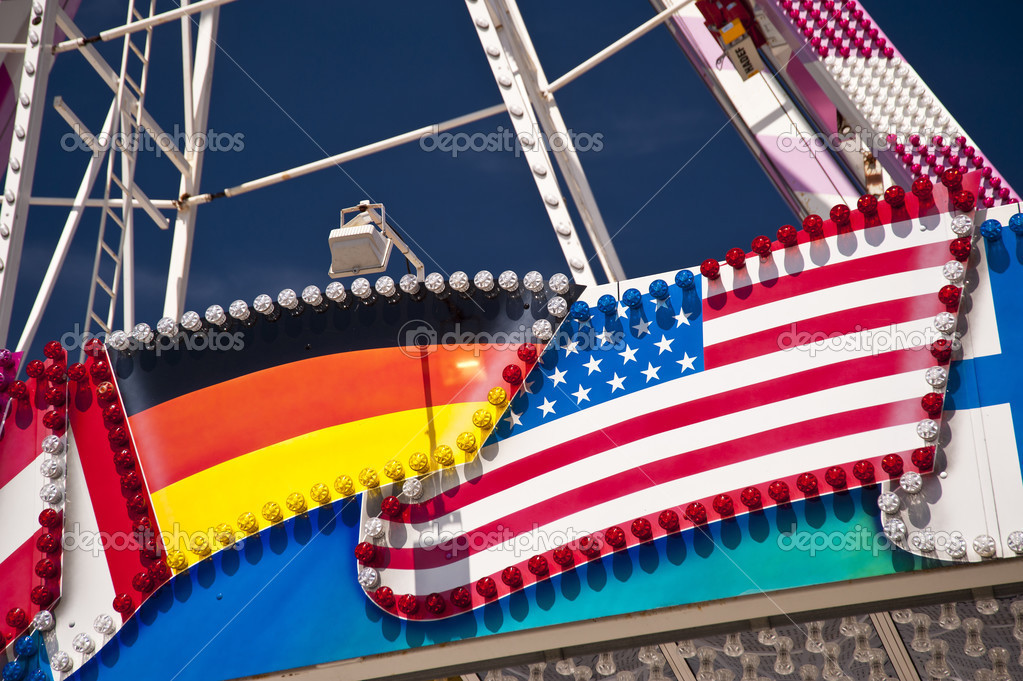 German an american Flag on a Giant Wheel
